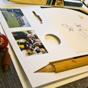 Mount for cricket sports memorabilia with customized aperture shapes